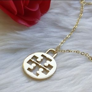 Tory Burch Logo Pendant Hold Plated Necklace NWOT